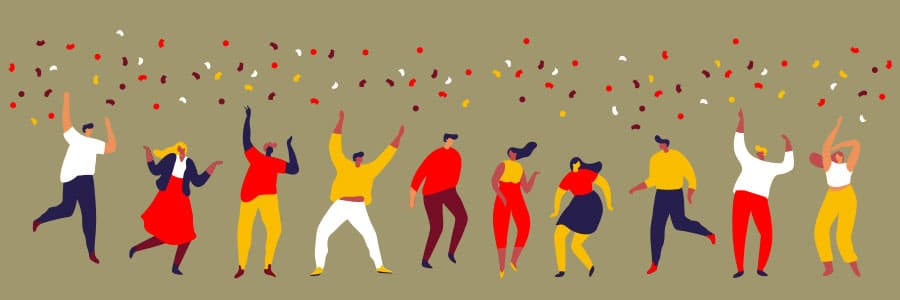happy and dancing people